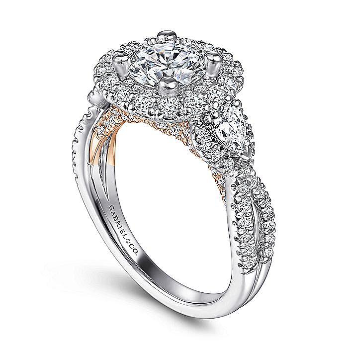 14K White-Rose Gold Round Double Halo Diamond Engagement Ring