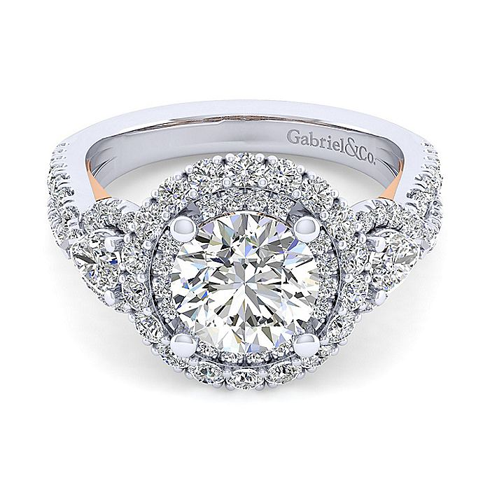 14K White-Rose Gold Round Double Halo Diamond Engagement Ring