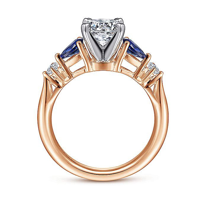 14K White-Rose Gold Round Five Stone Sapphire and Diamond Engagement Ring