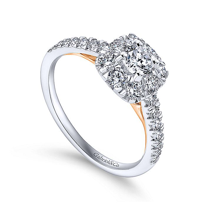 14K White-Rose Gold Round Halo Complete Diamond Engagement Ring