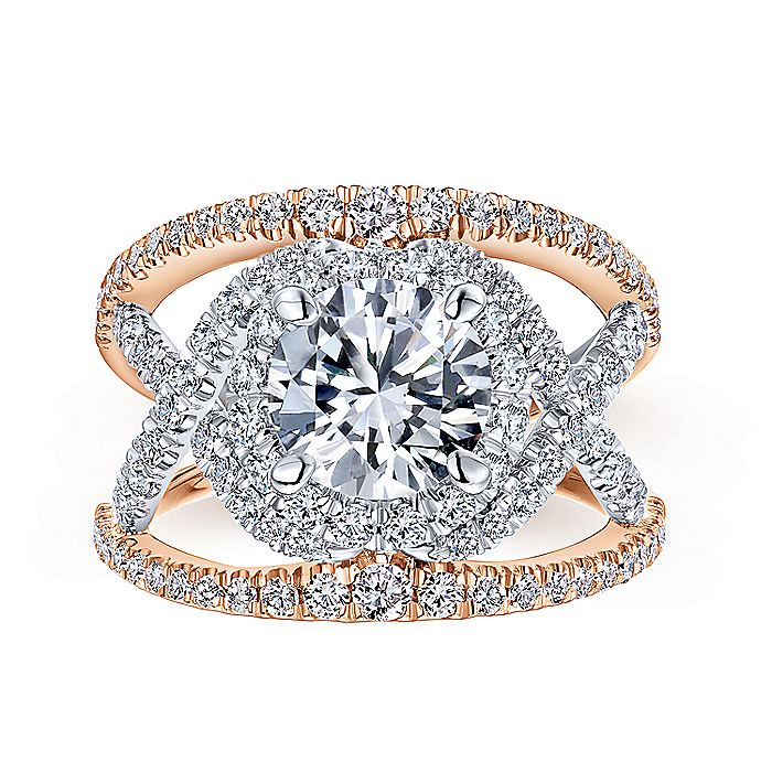 14K White-Rose Gold Round Halo Diamond Engagement Ring