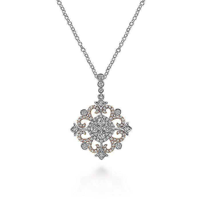 14K White-Rose Gold Round Openwork Diamond Pendant Necklace