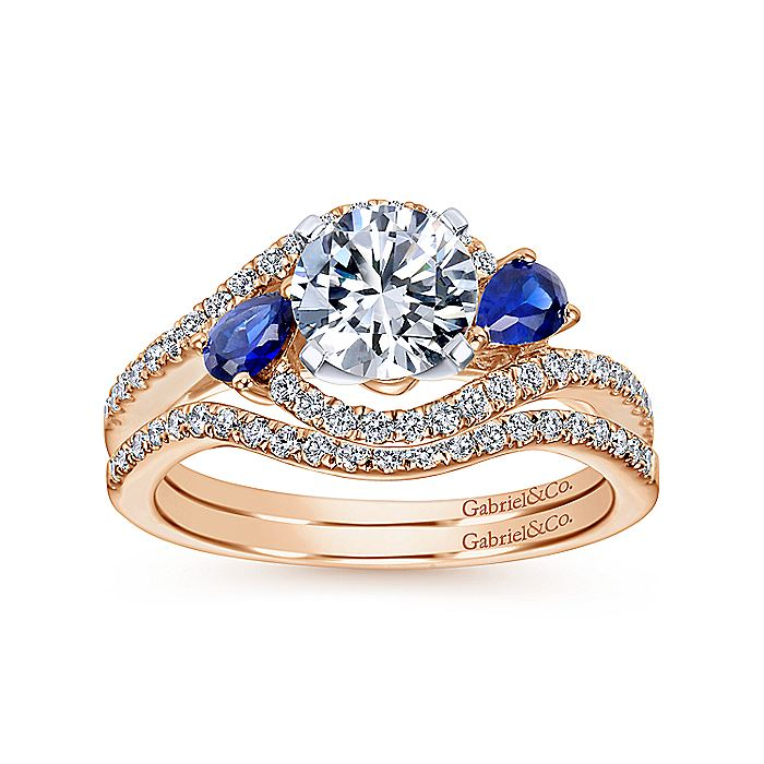 14K White-Rose Gold Round Three Stone Sapphire and Diamond Engagement Ring