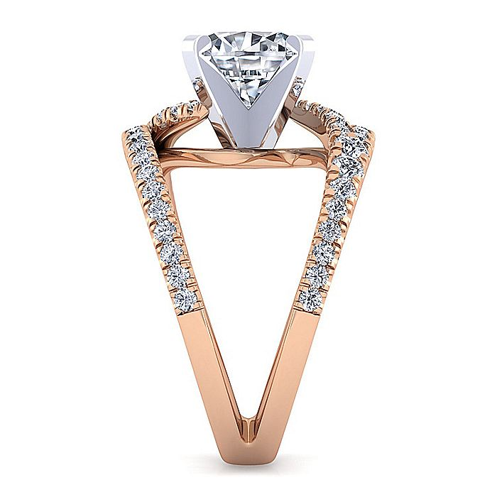 14K White-Rose Gold Split Shank Round Diamond Engagement Ring