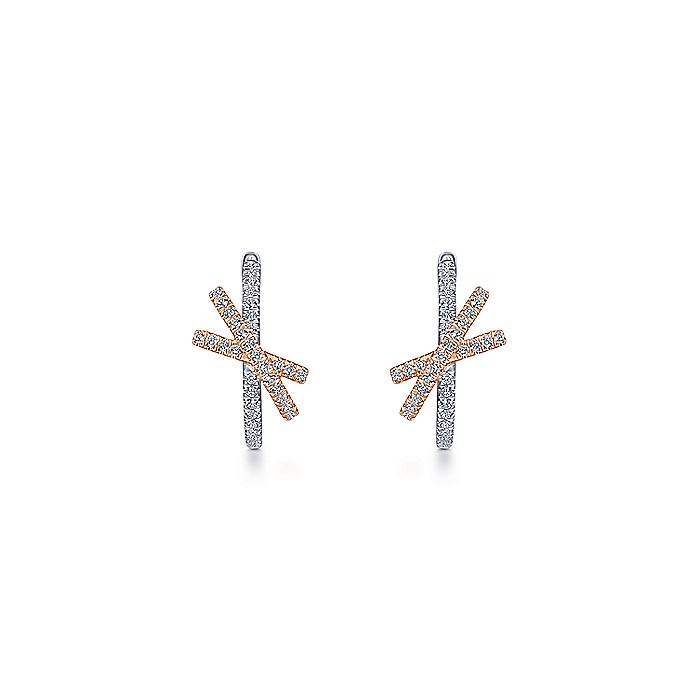 14K White-Rose Gold Twisted 15mm Diamond Huggie Earrings