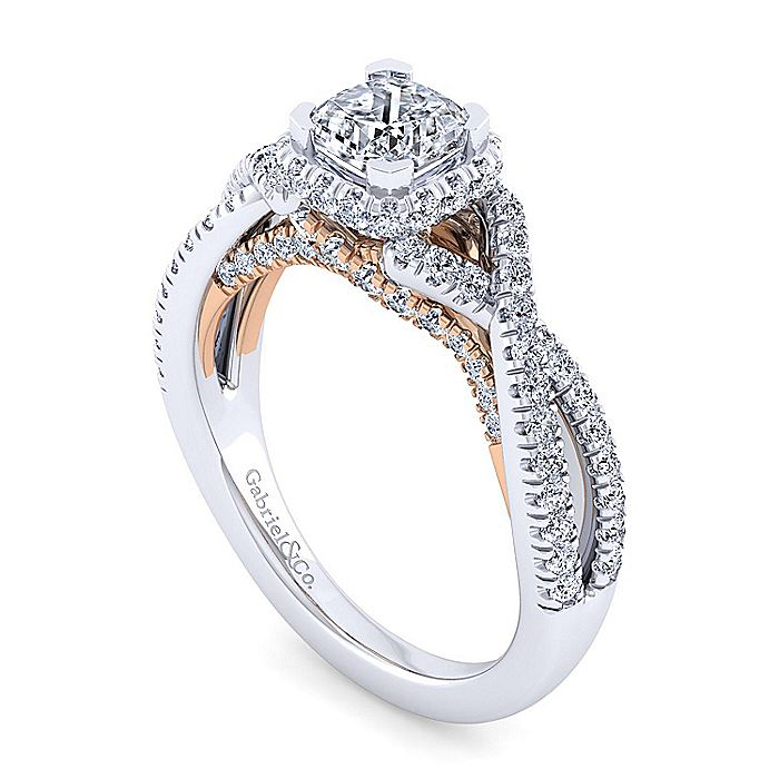 14K White-Rose Gold Twisted Cushion Cut Diamond Engagement Ring