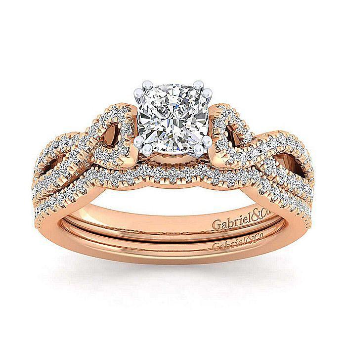 14K White-Rose Gold Twisted Cushion Cut Diamond Engagement Ring