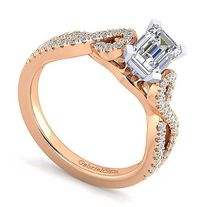 14K White-Rose Gold Twisted Emerald Cut Diamond Engagement Ring
