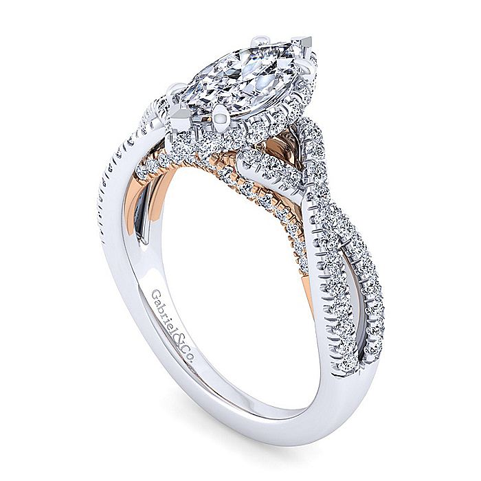 14K White-Rose Gold Twisted Marquise Shape Diamond Engagement Ring