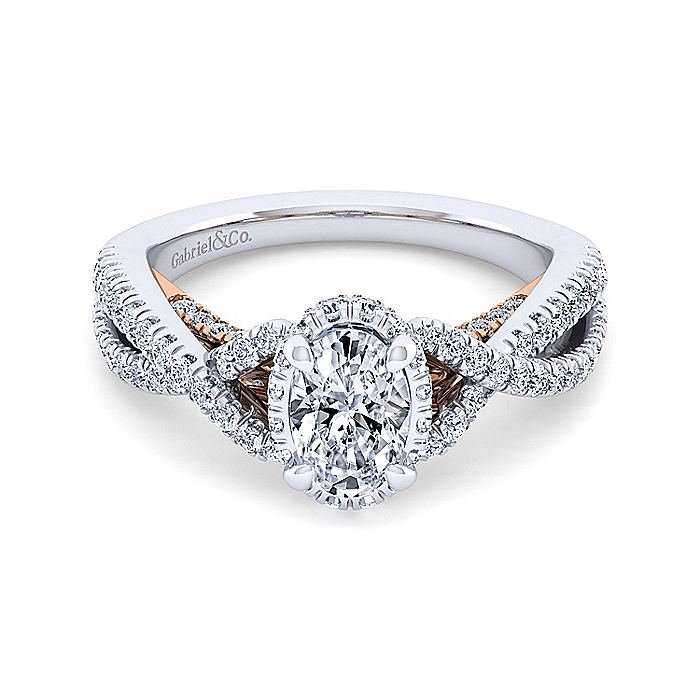 14K White-Rose Gold Twisted Oval Diamond Engagement Ring