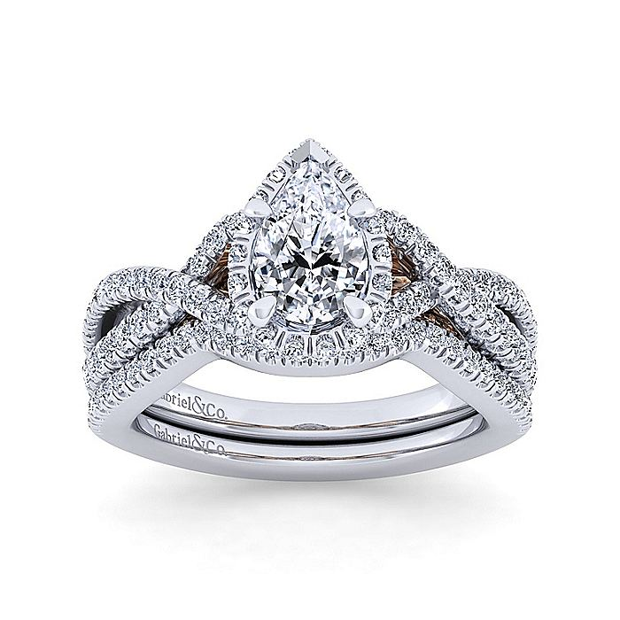 14K White-Rose Gold Twisted Pear Shape Diamond Engagement Ring