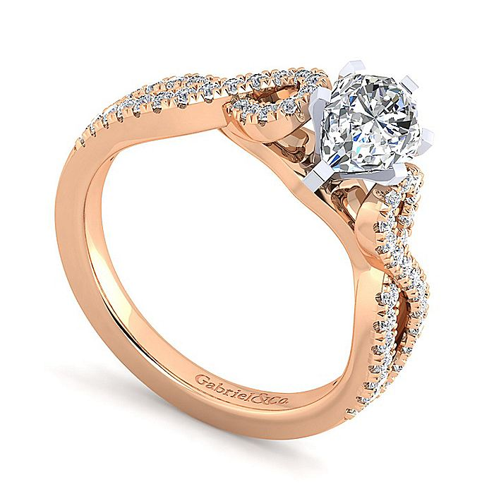 14K White-Rose Gold Twisted Pear Shape Diamond Engagement Ring