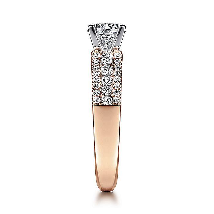14K White-Rose Gold Wide Band Round Diamond Engagement Ring