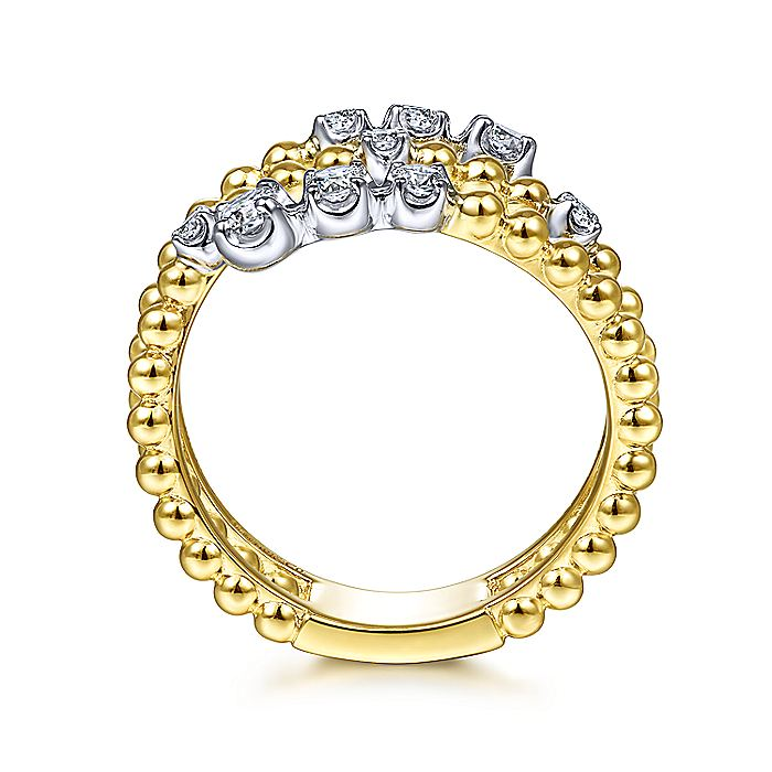 14K White-Yellow Gold Bujukan Ball and Diamond Open Bypass Wrap Ring