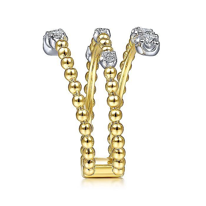 14K White-Yellow Gold Bujukan Ball and Diamond Open Bypass Wrap Ring