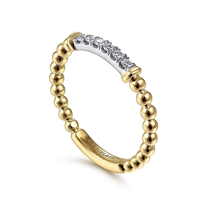 14K White-Yellow Gold Bujukan Bead Band with Diamond Pavé Center Bar
