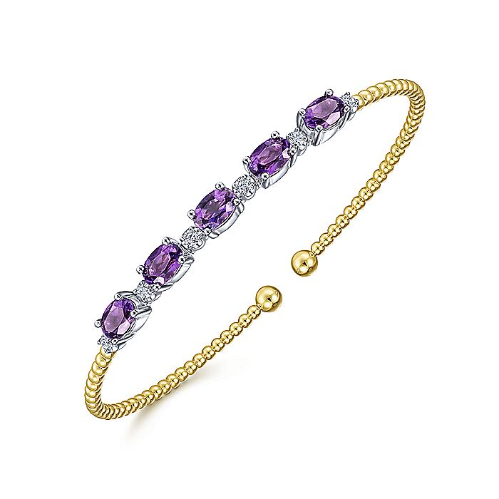 14K White-Yellow Gold Bujukan Bead Cuff Bracelet with Amethyst and Diamond Stations
