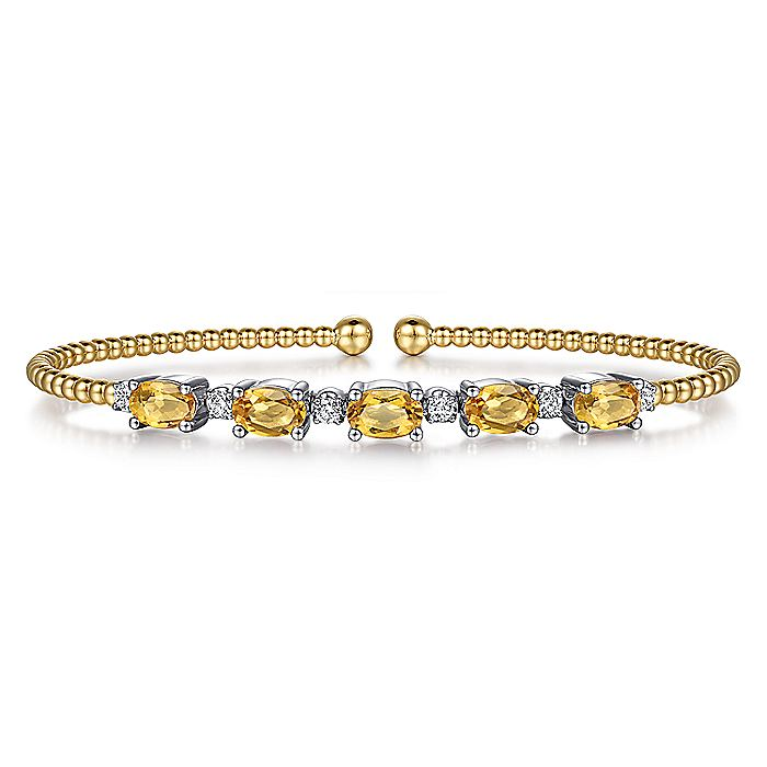 14K White-Yellow Gold Bujukan Bead Cuff Bracelet with Citrine and Diamond Stations