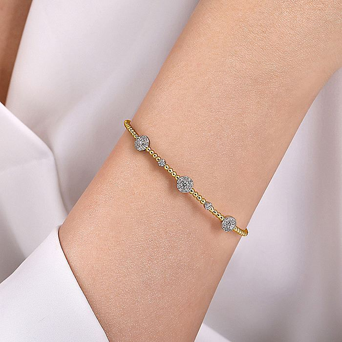 14K White-Yellow Gold Bujukan Bead Cuff Bracelet with Diamond Cluster Stations