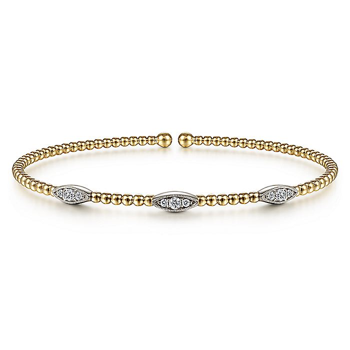 14K White-Yellow Gold Bujukan Bead Cuff Bracelet with Diamond Filled Marquise Stations