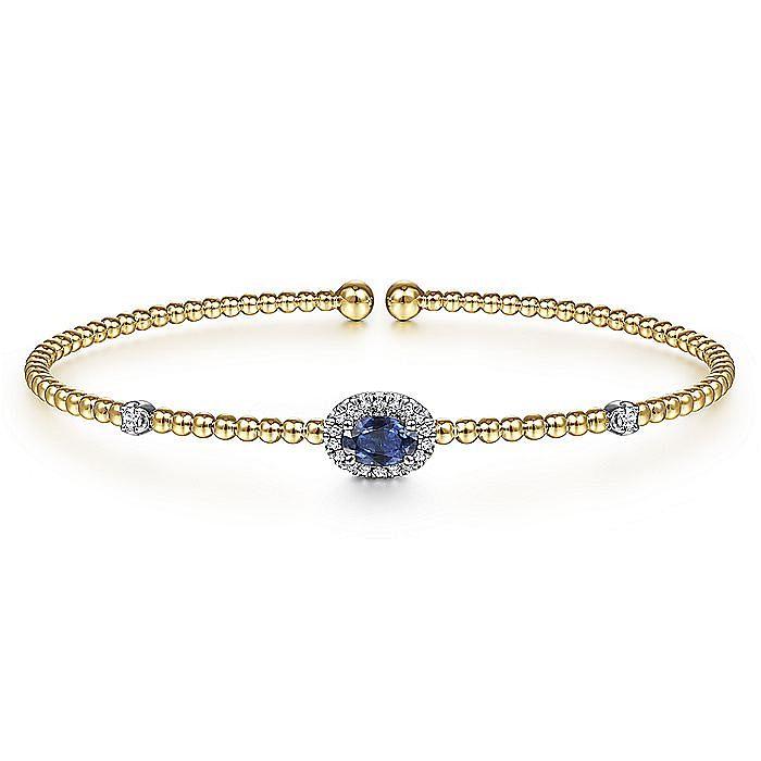 14K White-Yellow Gold Bujukan Bead Cuff Bracelet with Sapphire and Diamond Halo Station