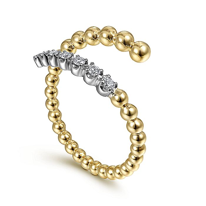 14K White-Yellow Gold Bujukan Bead and Diamond Wrap Ring