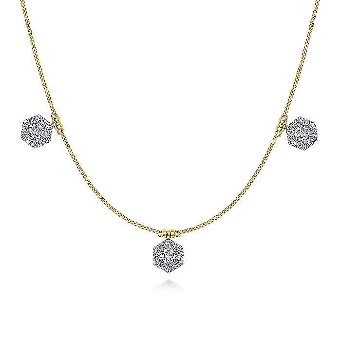14K White-Yellow Gold Choker Necklace with Hexagonal Diamond Halo Stations