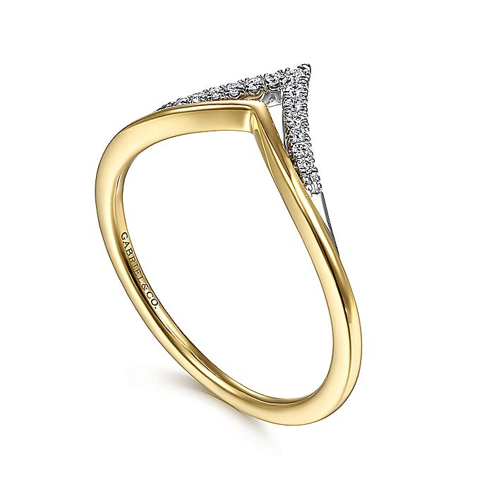 14K White-Yellow Gold Curved Double Row Diamond V Ring