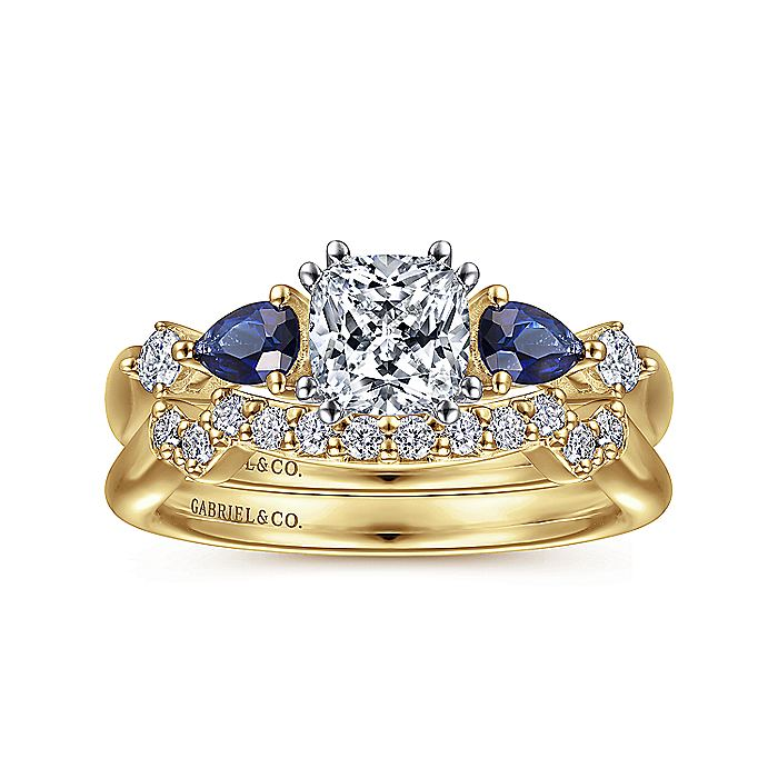 14K White-Yellow Gold Cushion Cut Five Stone Sapphire and Diamond Engagement Ring