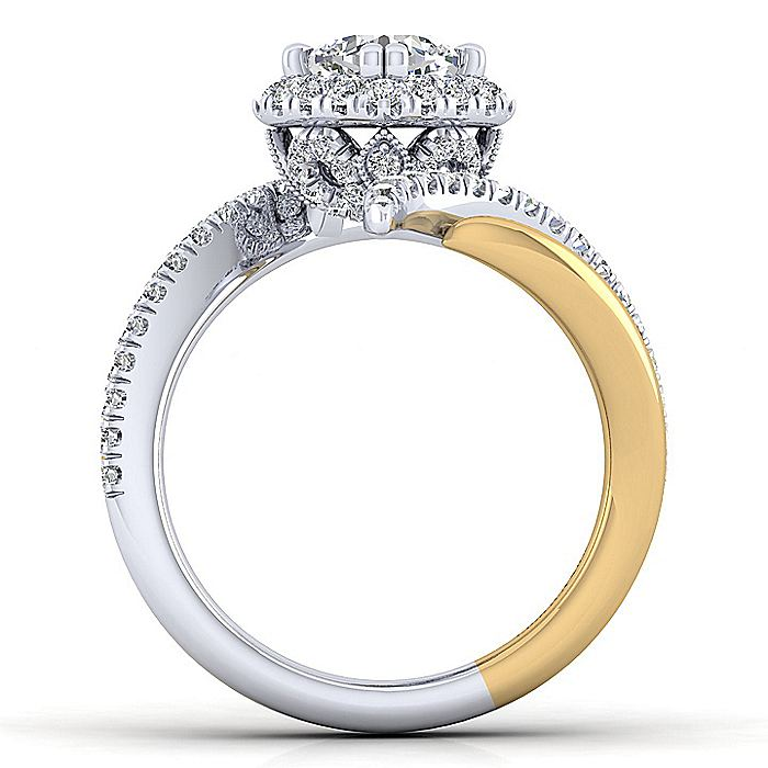 14K White-Yellow Gold Cushion Halo Diamond Engagement Ring