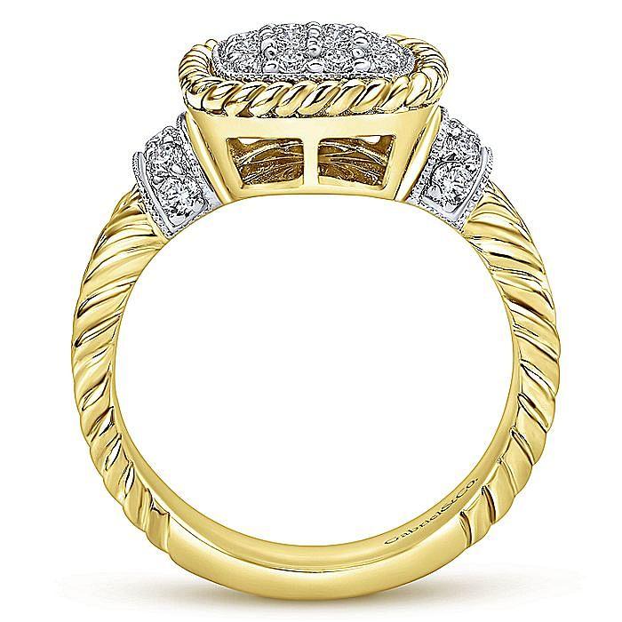 14K White-Yellow Gold Cushion Shape Pavé Cluster Diamond Ring