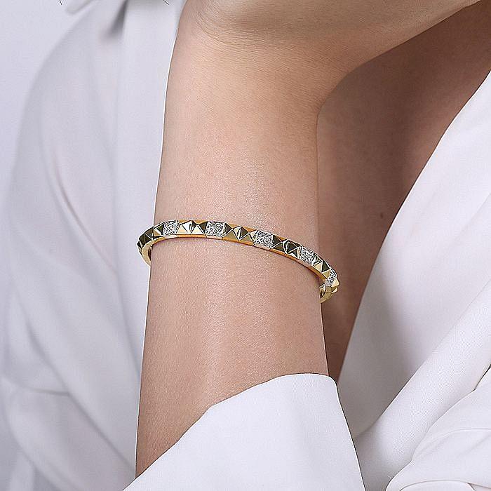14K White-Yellow Gold Diamond Bangle