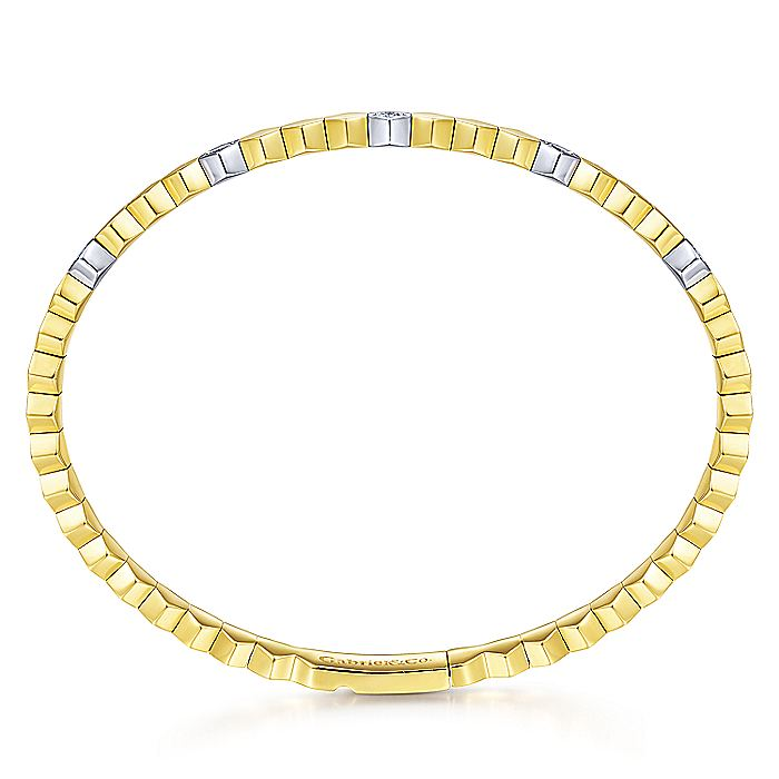 14K White-Yellow Gold Diamond Bangle