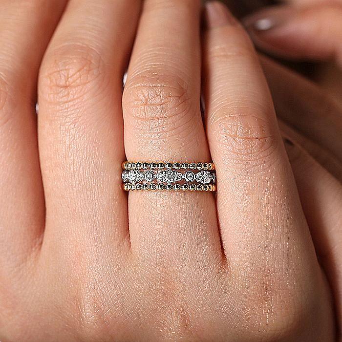 14K White-Yellow Gold Diamond and Bujukan Bead Ring