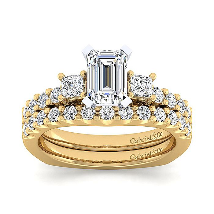 14K White-Yellow Gold Emerald Cut Three Stone Diamond Engagement Ring