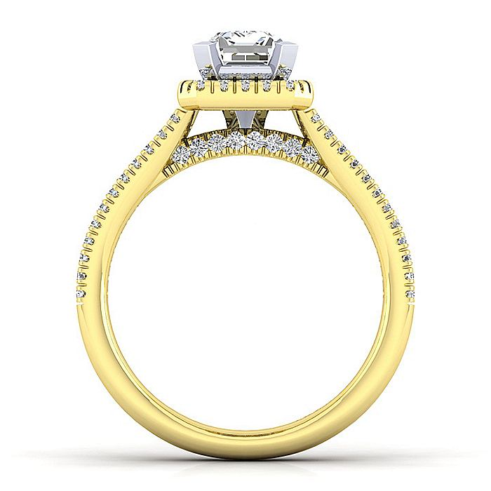 14K White-Yellow Gold Emerald Halo Diamond Engagement Ring