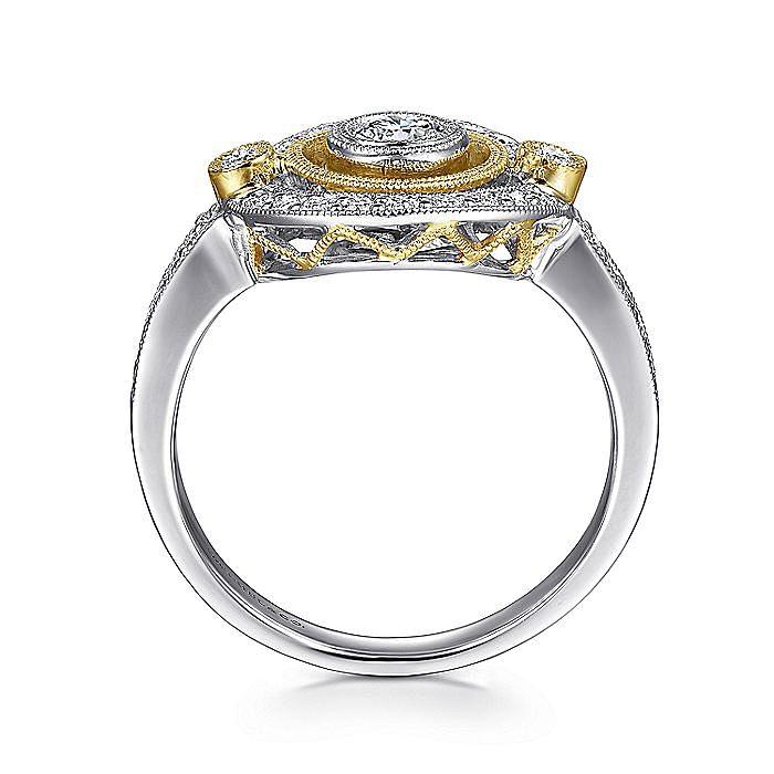 14K White-Yellow Gold Floating Halo Diamond Ring