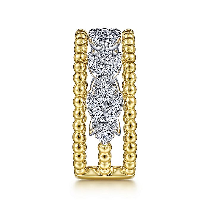 14K White-Yellow Gold Floral Diamond Clusters and Bujukan Bead Ring