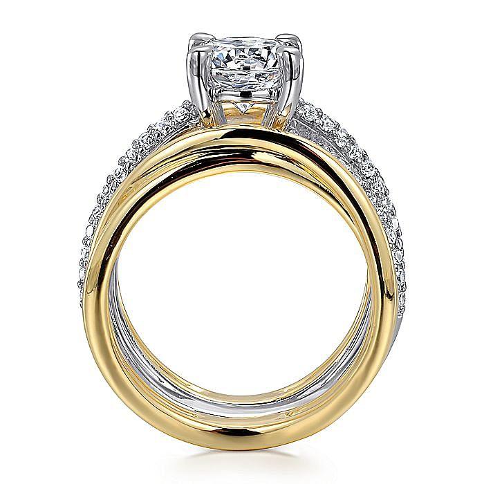 14K White-Yellow Gold Free Form Round Diamond Engagement Ring