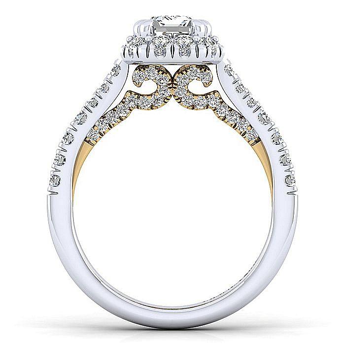 14K White-Yellow Gold Halo Emerald Cut Diamond Engagement Ring