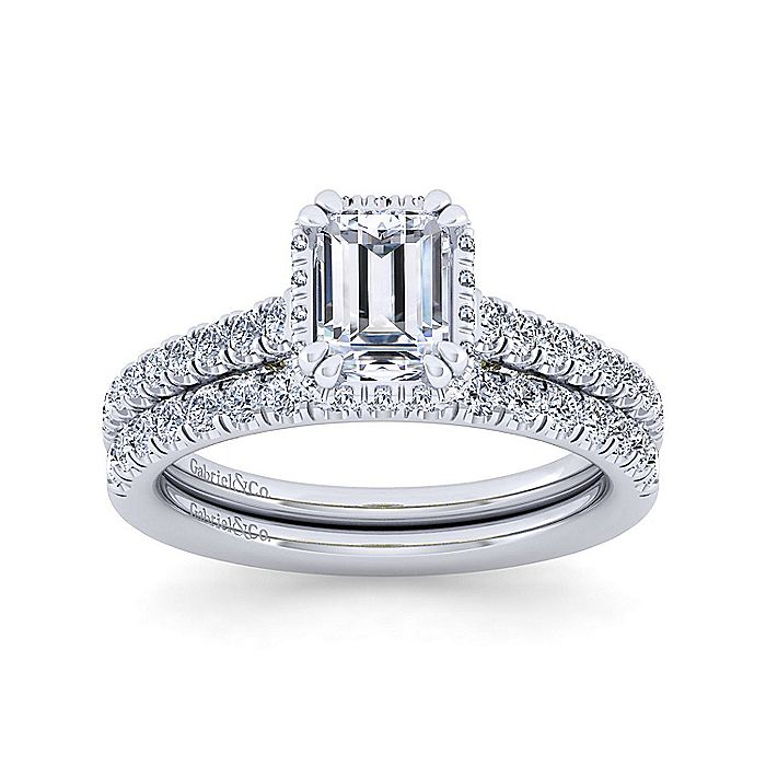 14K White-Yellow Gold Hidden Halo Emerald Cut Diamond Engagement Ring