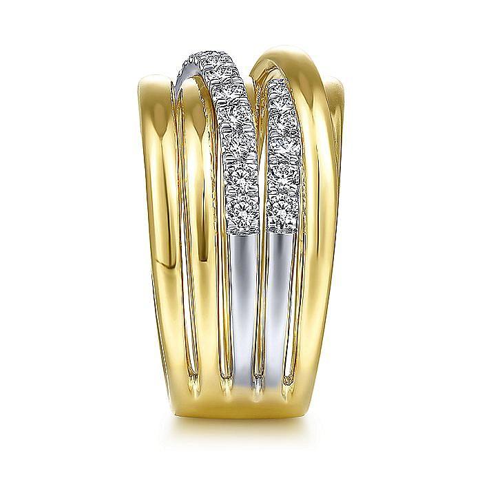 14K White-Yellow Gold Layered Wide Band Diamond Ring