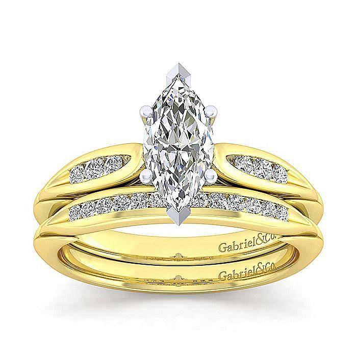 14K White-Yellow Gold Marquise Shape Diamond Engagement Ring