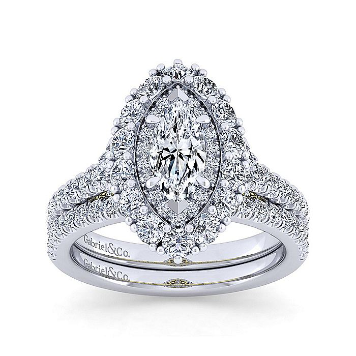 14K White-Yellow Gold Marquise Shape Double Halo Diamond Engagement Ring