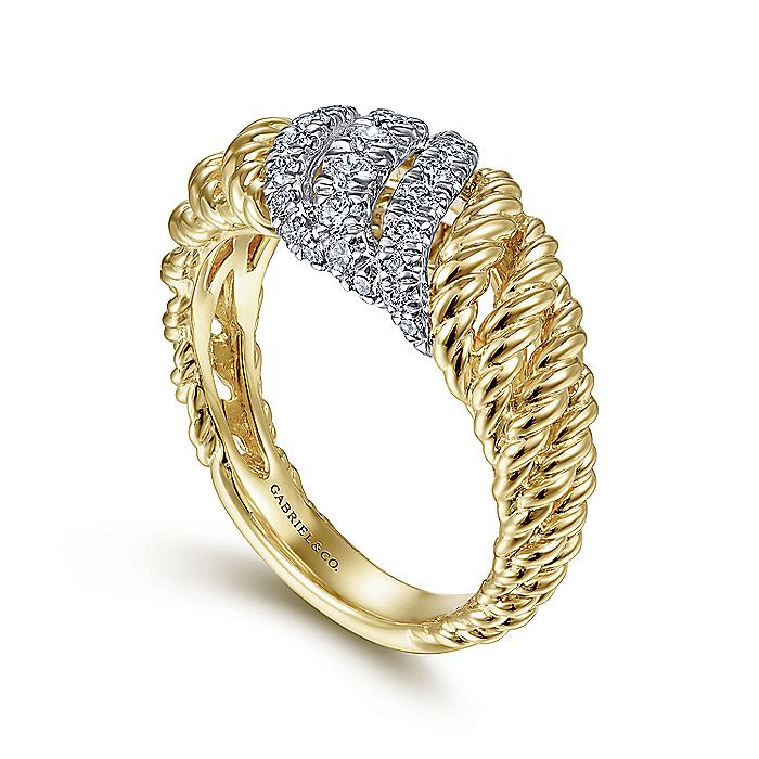 14K White-Yellow Gold Multi Twisted Rope and Diamond Ring