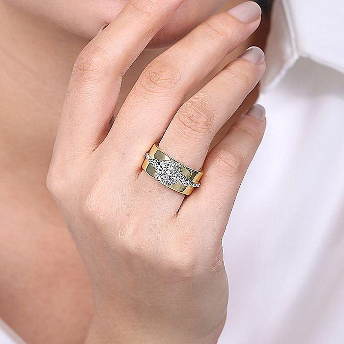 14K White-Yellow Gold Octagonal Halo Round Diamond Engagement Ring