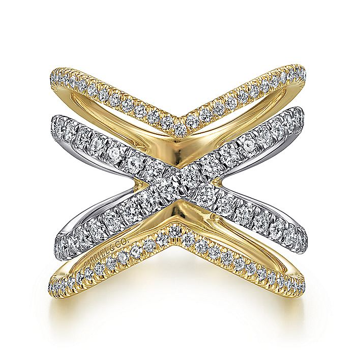 14K White-Yellow Gold Open Diamond Criss Cross Ring