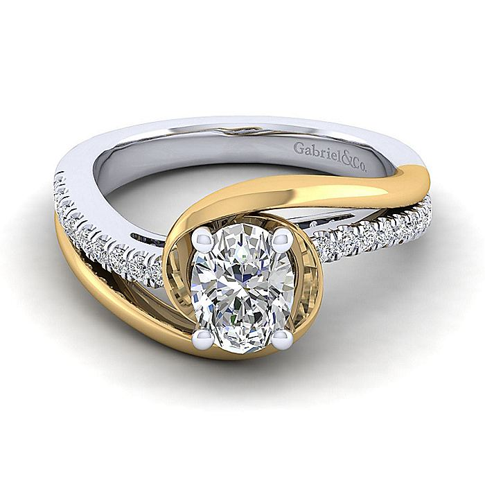 14K White-Yellow Gold Oval Diamond Engagement Ring