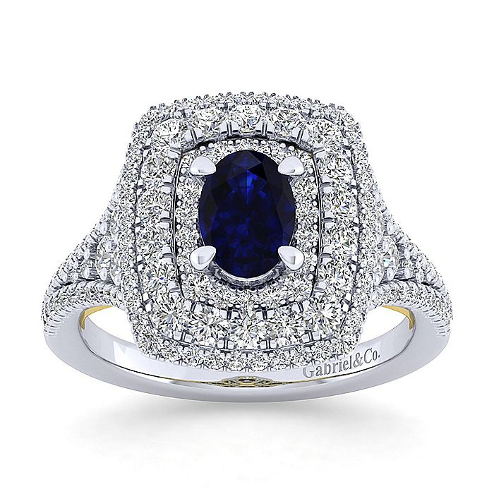 14K White-Yellow Gold Oval Halo Sapphire and Diamond Engagement Ring