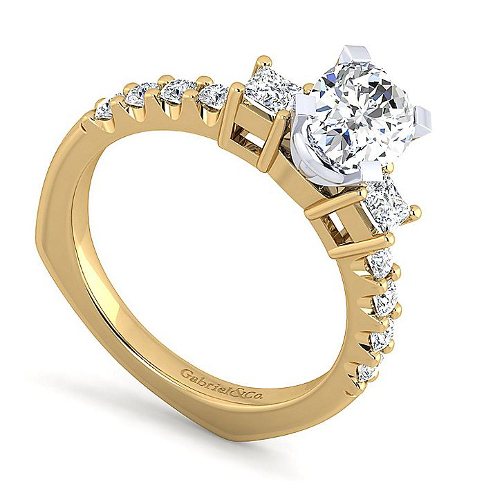 14K White-Yellow Gold Oval Three Stone Diamond Engagement Ring